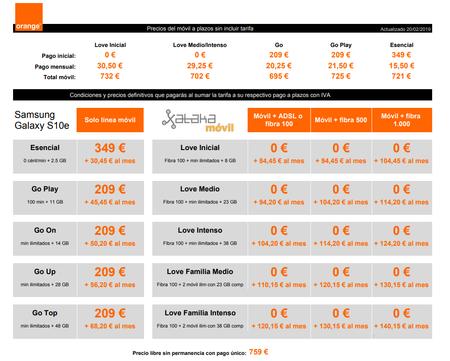 Precios Samsung Galaxy S10e Con Pago A Plazos Y Tarifas Orange