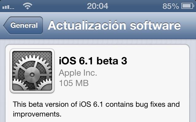 Apple lanza la tercera beta de iOS 6.1 con mejoras de seguridad en iCloud