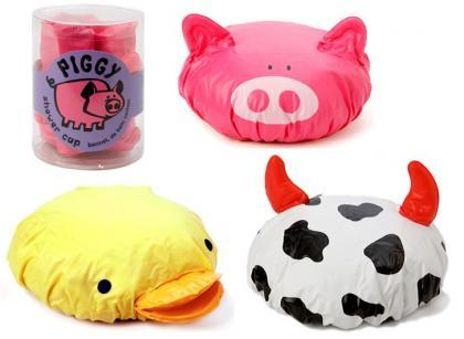 Gorros de baño de cerdo, vaca y pato