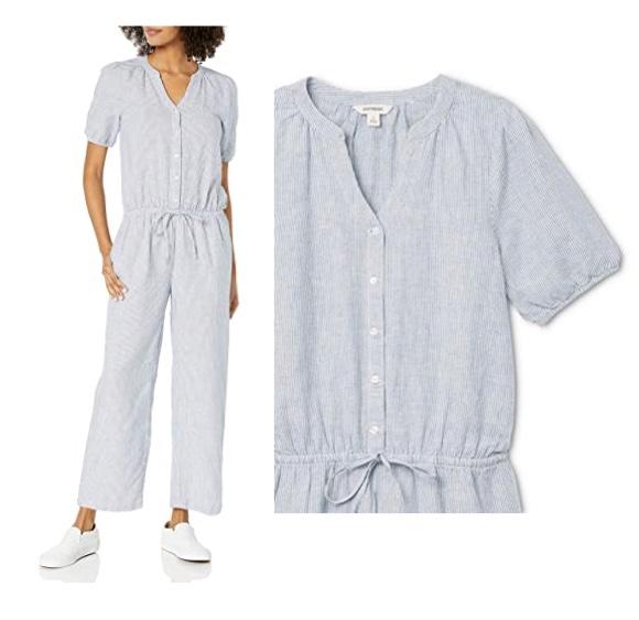 Marca Amazon - Goodthreads - Mono para mujer con botones frontales de mezcla de lino lavado estándar