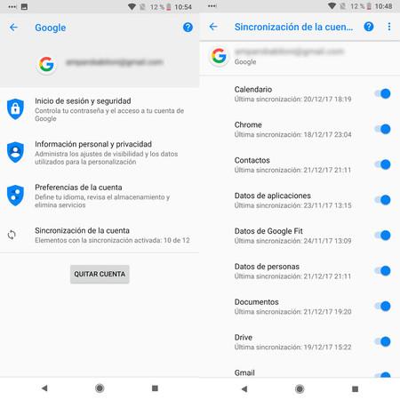 Copias Seguridad Android cuenta de Google