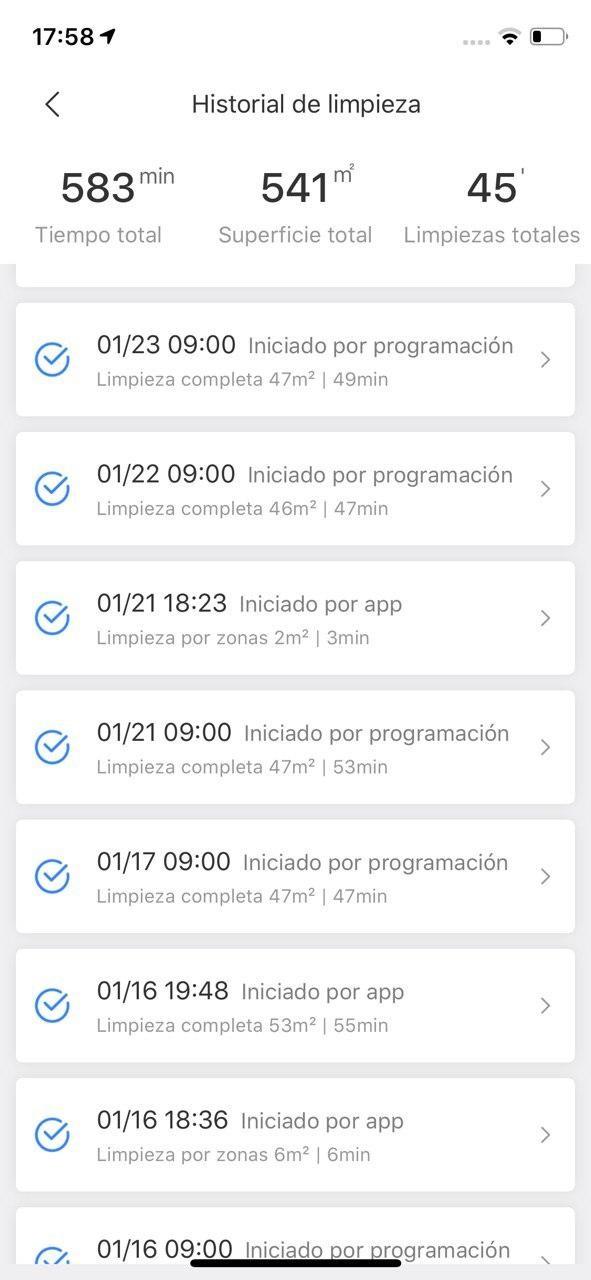 Capturas de la app Roborock