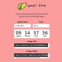 ¿Necesitas enviar una cuenta atrás en un correo electrónico? Email Taco es una solución en formato gif