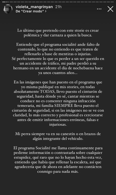 El comunicado de Violeta Mangriñán