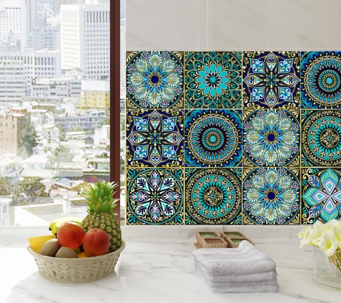 Adhesivo con azulejos de inspiración retro