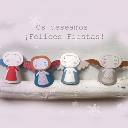 Recortables de Navidad: angelitos de la felicidad gratis para imprimir y armar