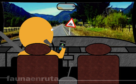 Distracción con un smartphone en el coche