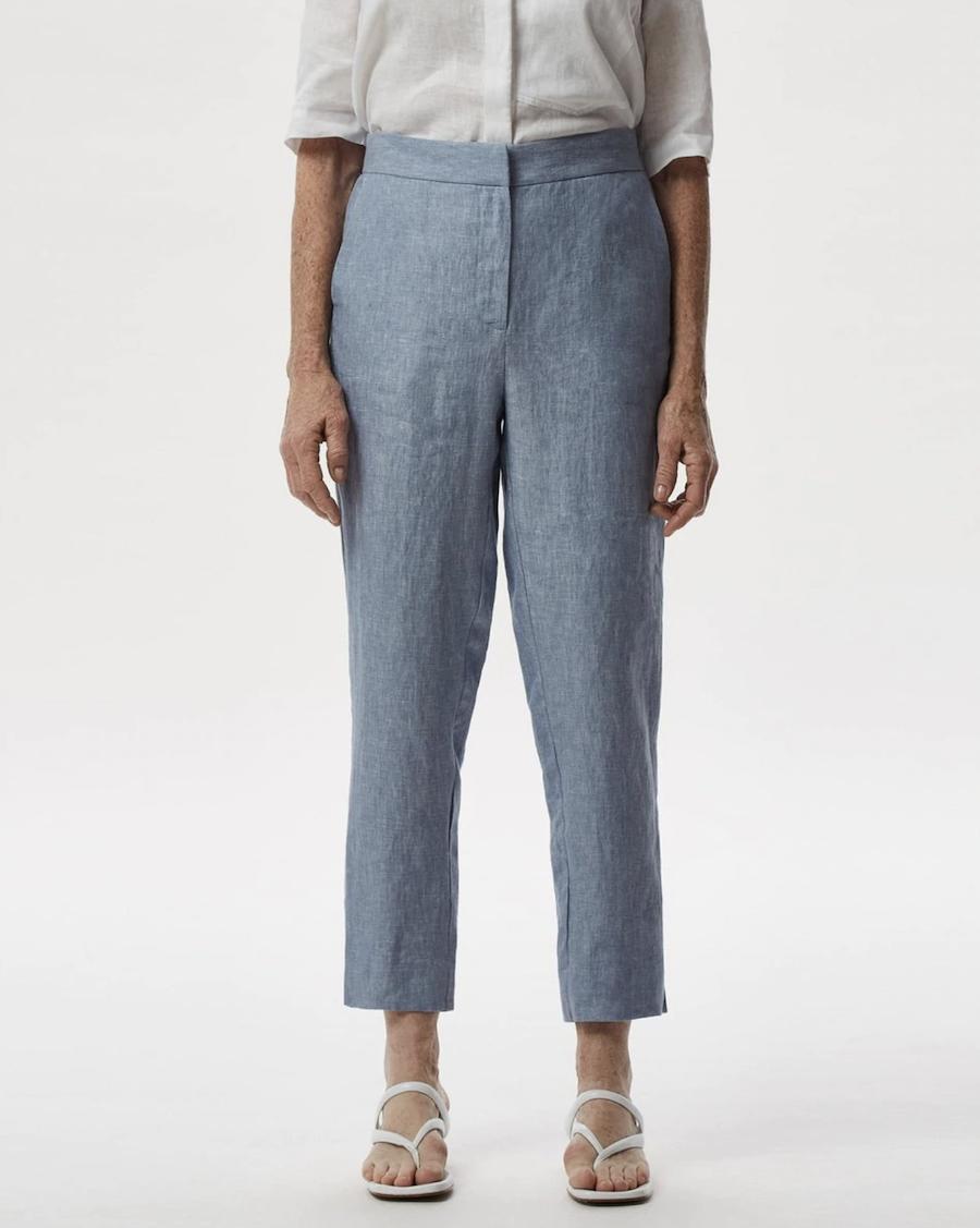 Pantalones rectos de mujer 100% lino tobilleros