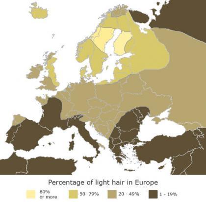 El mapa de las rubias europeas