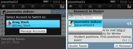 Twitter para BlackBerry con gestión de múltiples cuentas