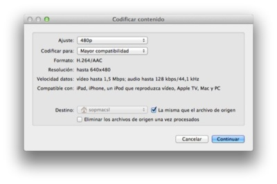 Codifica vídeo directamente desde el Finder de OS X Mountain Lion