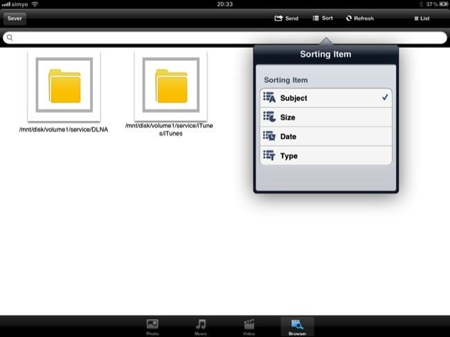 Visor de archivos y diversas opciones de ordenación de LG My Data