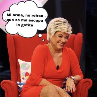 Terelu Campos enseña el chumino en el camerino: la presentadora perdió las bragas en más de una ocasión