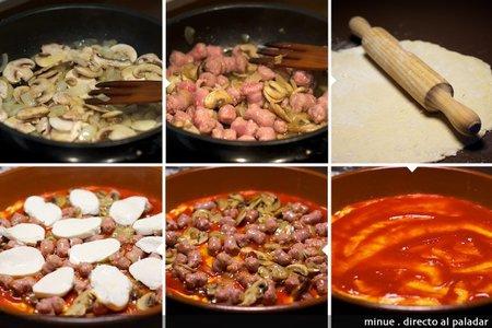 Pizza longaniza y champiñones - elaboración