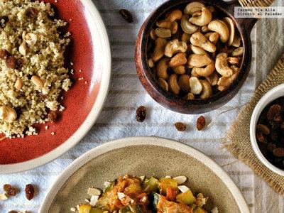 Tajine de verduras al ras el hanout con cuscús. Receta rápida