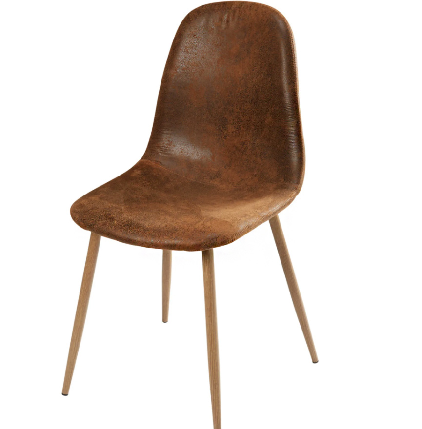 Silla escandinava de antelina marrón envejecido
