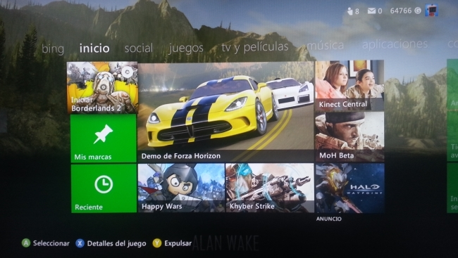 Inicio de la interfaz de Xbox Live