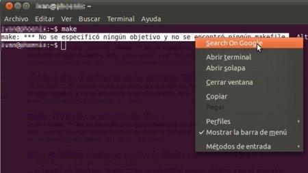 Busca en Google el texto seleccionado en la terminal de Gnome