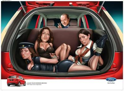 ¿Silvio Berlusconi amordazando a mujeres para anunciar un coche?