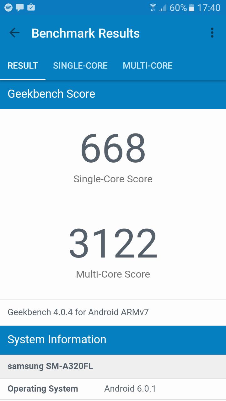 Benchmarks Samsung Galaxy A3 (2017)