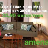 Amena replica a Lowi con nuevo combinado de fibra y móvil con 20 GB por 35,95 euros