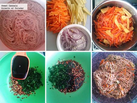 Preparación ensalada de fideos estilo tailandés