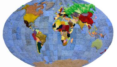 El mapa del mundo hecho con estropajos de cocina usados