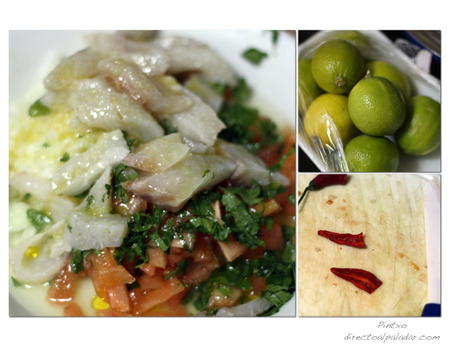 Ceviche de lubina y chile thai. Pasos