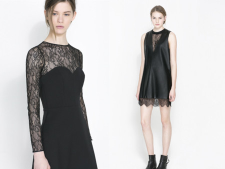 Vestidos lenceros tendencia Navidad 2013 vestidos negro cuero encaje Zara