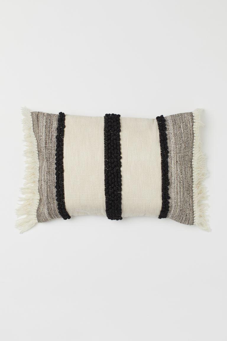 Funda de cojín rectangular en mezcla de lana y algodón con textura