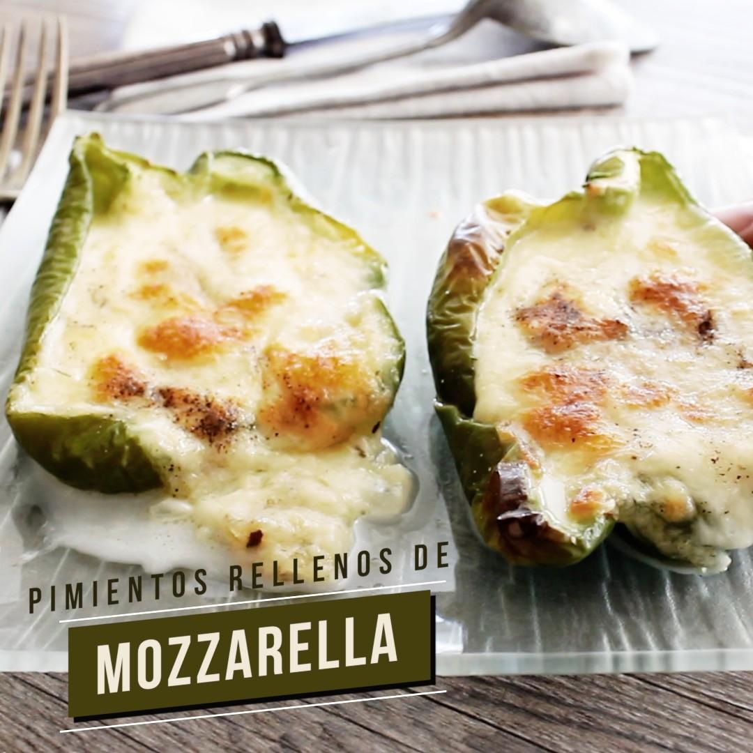 Pimientos rellenos de queso mozzarella. Receta vegetariana en video