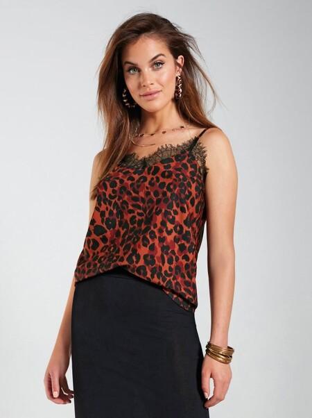 Top Lencero Con Animal Print Leopardo Marron