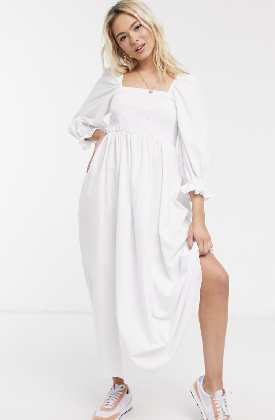 Vestido largo blanco de algodón con diseño fruncido de ASOS DESIGN