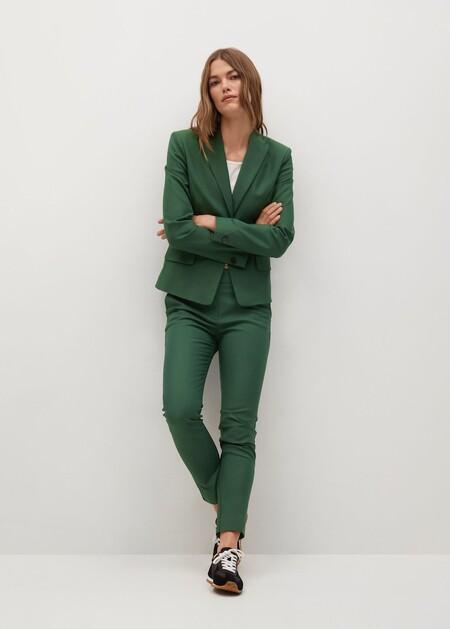 traje de chaqueta verde de manfo