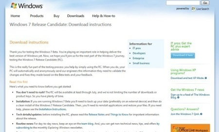 Ya se puede descargar la Release Candidate de Windows 7