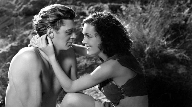 Johnny Weissmuller y Maureen O'Sullivan como Jane y Tarzan.