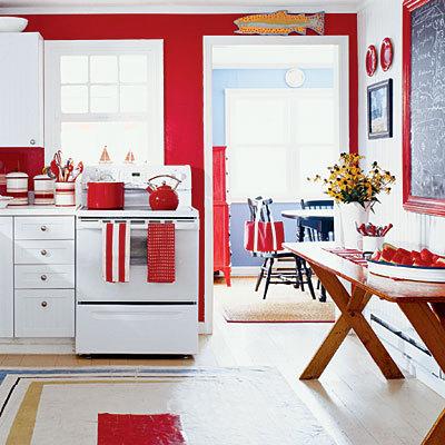 Rojo y blanco en la cocina.