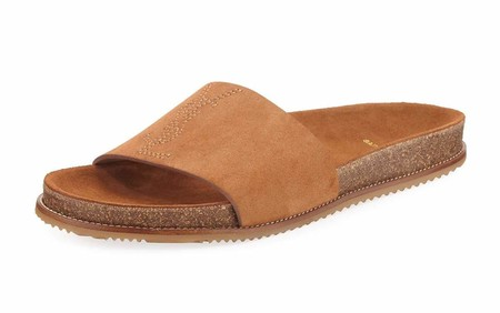 Sandalia slide en suede de Saint Laurent