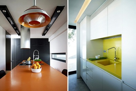 Una buena idea: contrastes de color en el baño y la cocina