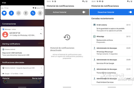 Notificaciones Historial Android 11