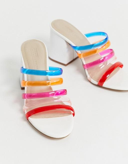 Sandalias de tacón cuadrado transparente con tiras multicolor