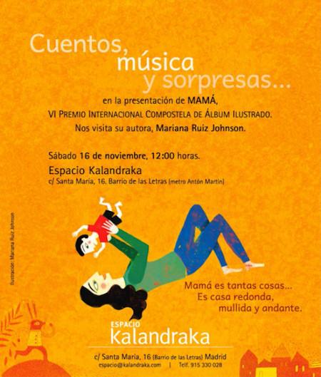 El próximo sábado actividades para niños en la presentación de 'Mamá': será en el Espacio Kalandraka de Madrid