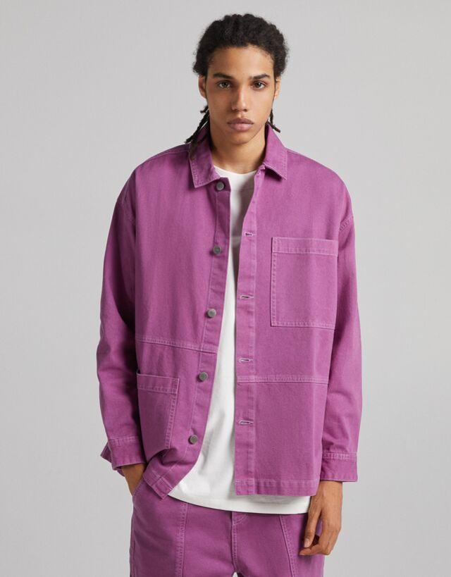 Sobrecamisa en algodón en tono malva con bolsillo delantero