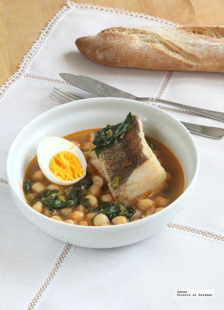 Garbanzos con bacalao y espinacas. Receta tradicional