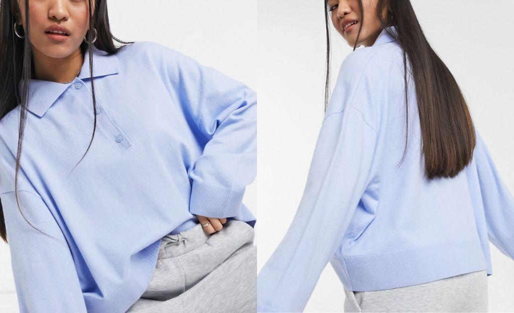 Jersey azul claro con cuello tipo polo Monique de Weekday