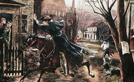 Paul Revere avisando de la llegada de los soldados británicos