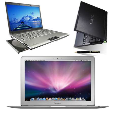Macbook Air frente al Vaio TZ y el Toshiba R500
