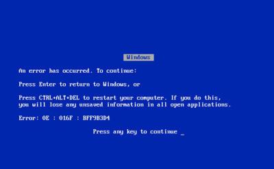 El clásico pantallazo azul de Windows, una creación de... Steve Ballmer