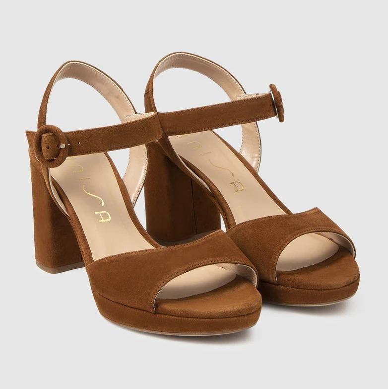 Sandalias de tacón de mujer Unisa de ante en color marrón