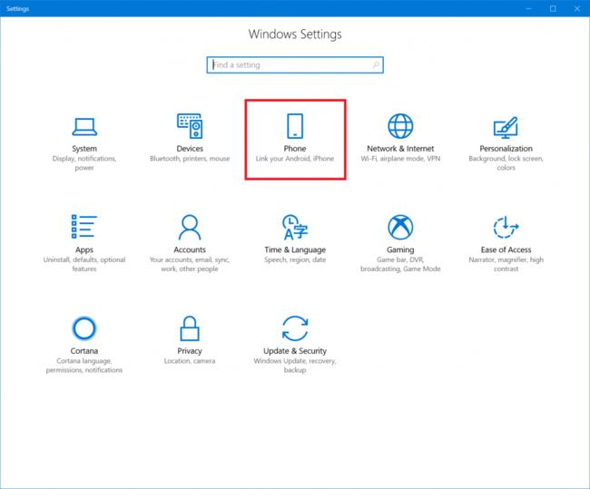 Windows diez Fall Creators Update Phone